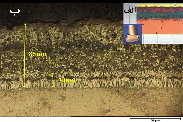 تصویر میکروسکوپ نوری پوشش Elcoat37 الف)شرکت هلندیElbar ، ب) شرکت دانش بنیان توربین دوام محافظ